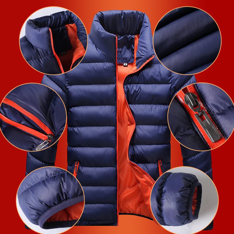 Stand Collar Winter Purple Navy Blue Cotton Winter Jacket Parka Hot Warm Fashion Brand Clothing Coats