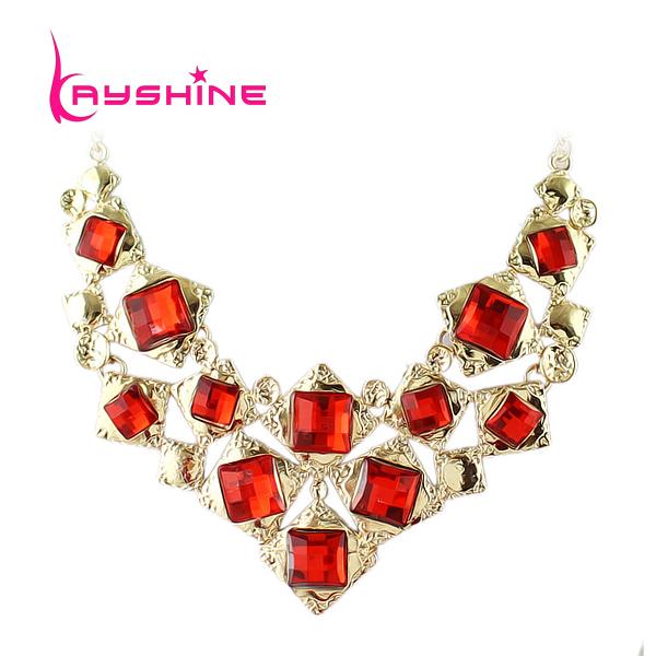 Kayshine Cheap Fashion Jewelry Colorful Created Gemstone Choker Geometric Perfumes Necklace For Party(China (Mainland))