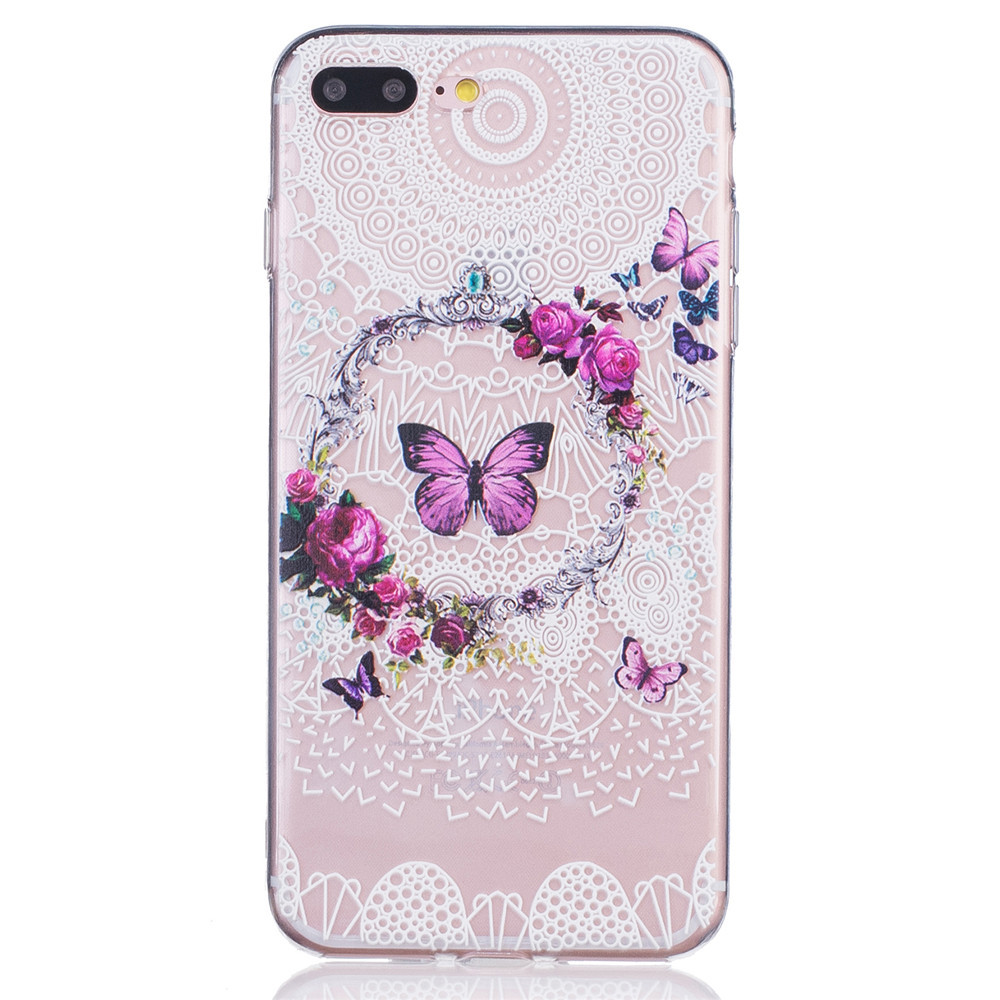 3D Embossed Case Slim Clear Soft TPU Silicone Cover for Apple iPhone 7 Plus 7Plus Pink Flower Pineapple Butterfly Phone Capa