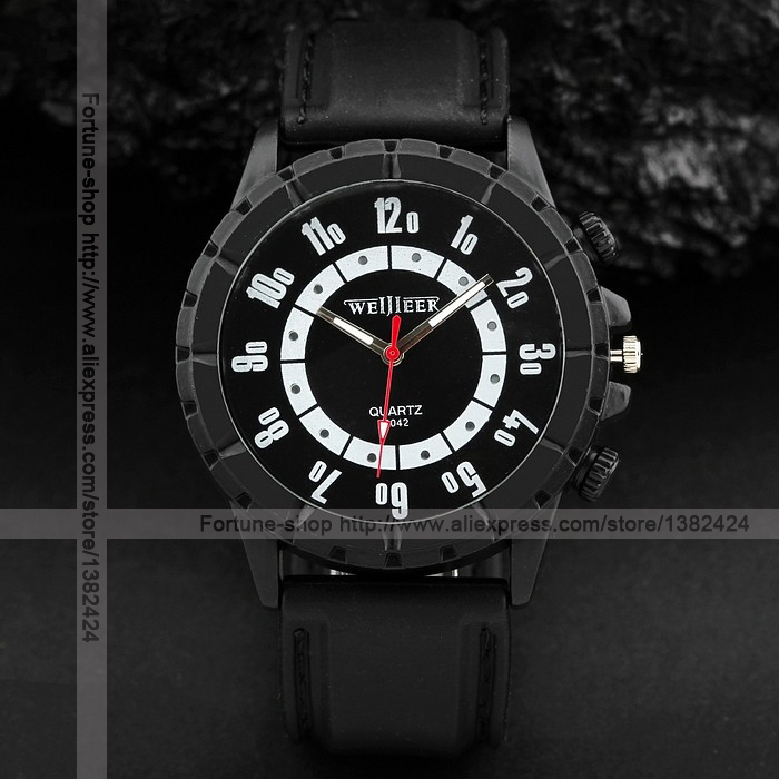 Wholesale Cheap Men Sport Quartz Wrist Watch Silicone Band Shop Give Aways Gifts Black Color WWQ0745(China (Mainland))