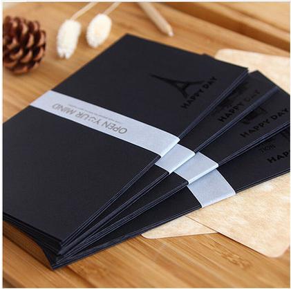 5pcs/pack ALL Black Bronzing Elegant envelope for post card/letter paper bus/towel/telephone booth/towel bridge 4 styles(China (Mainland))