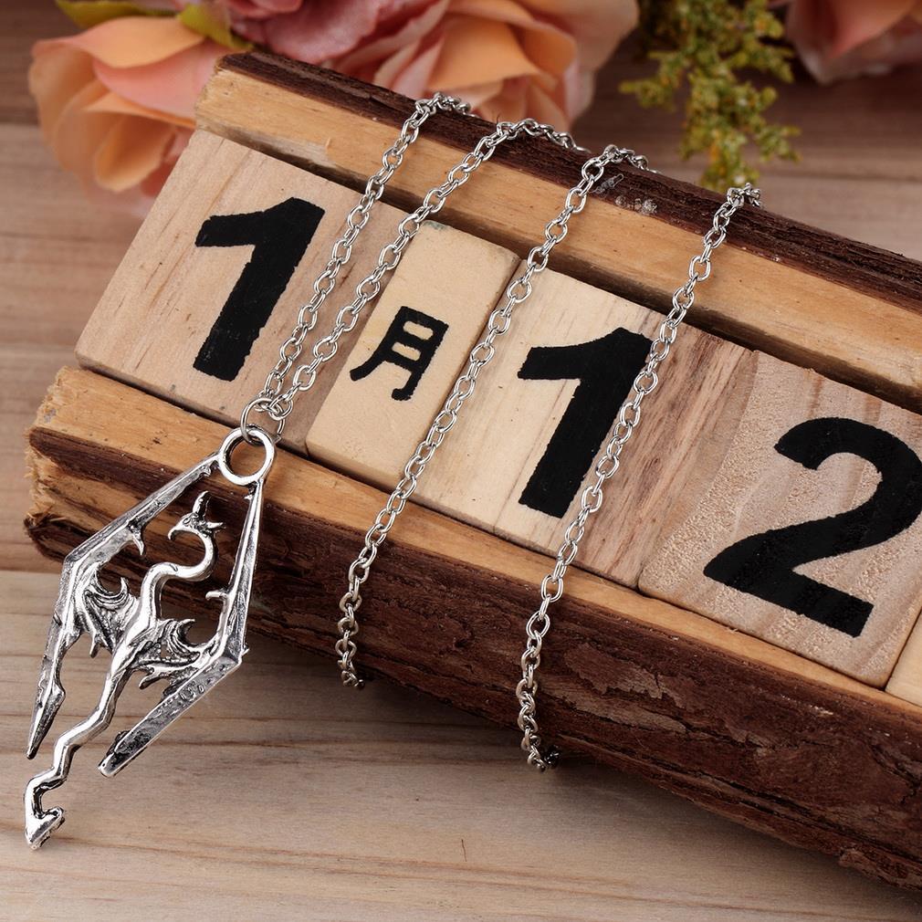 New Dinosaur Pendant Necklace Skyrim Elder Scrolls Dragon Pendants Vintage Necklace for Men/Women Jewelry(China (Mainland))