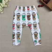 2015 nueva moda bebé Girls café harenes pantalones de la muchacha 100% algodón del otoño del resorte harenes muchacha de las polainas pantalones del Harem de los(China (Mainland))