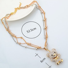 Fashion MultiLayer Necklace Gold For Women 2016 Crystal Bear Pendant Beads Long Necklace Jewelry Statement Necklace