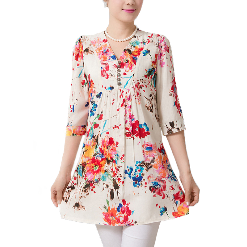 2015 Fashion Women Summer Tropical Dress Floral Print Vestidos Half Sleeve Casual Dresses Women Plus Size Free XL-5XL