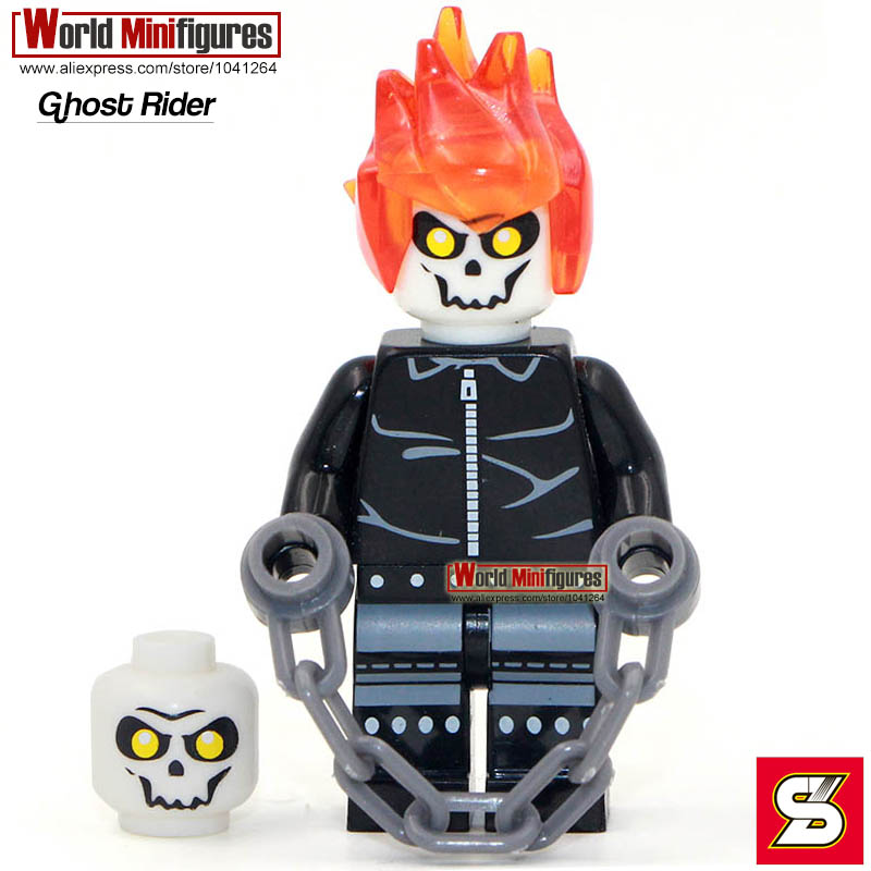 Ghost Rider with chain Johnny minifigure Single sale from shen yuan 220 Super Hero Classic figures Collection Children Gift toys(China (Mainland))
