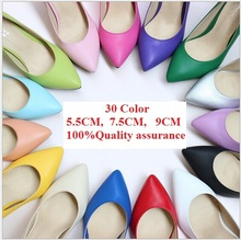 30 Color New 2015 Women Sex High Heels Shoes Leather Pointed Toe Pumps female Nude Wedding Shoes 9cm 7.5cm 5.5cm Plus Size(China (Mainland))