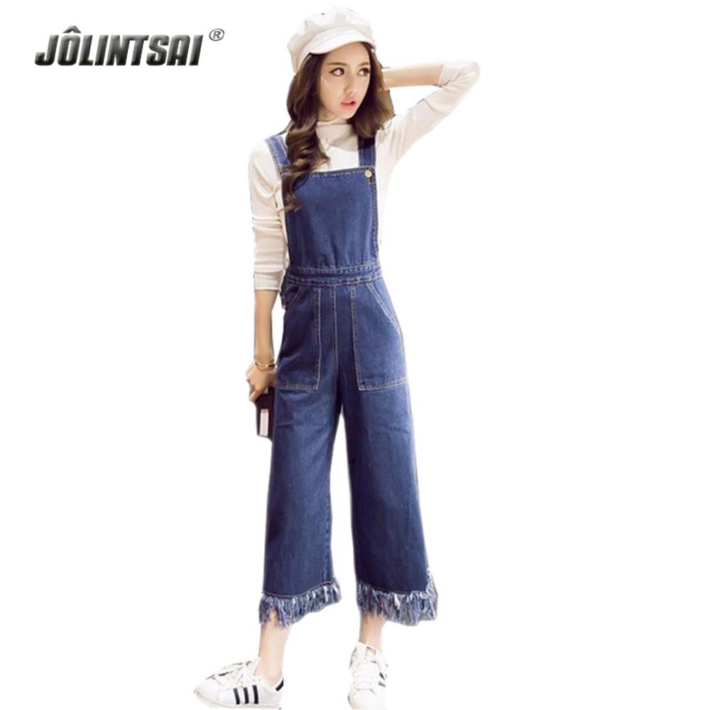 2016 Spring New Arrival Women's Pants Korean Fashion Casual Fringed Large Pocket Slim Female Denim Bib Overall Loose Hot S-XL(China (Mainland))