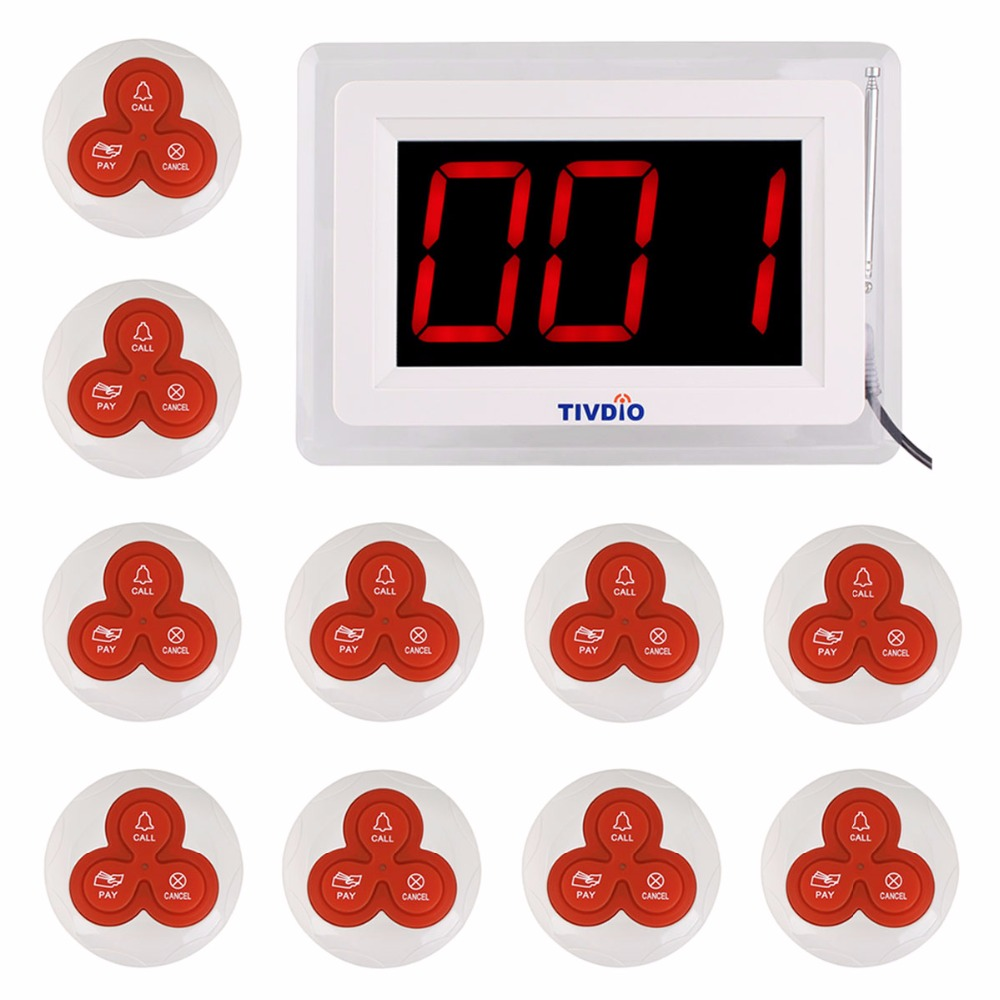 TIVDIO Pager Wireless Calling System Restaurant Paging System 1 Host Display+10 Table Bells Call Button Customer Service F9405B(China (Mainland))