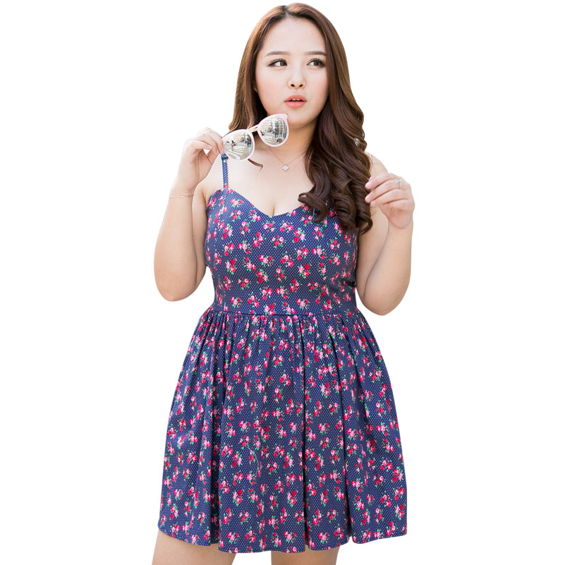 4XL Summer Women Plus Size Sweet Cute Floral Sexy Bandage Stretch Cotton Strap Dress Wraps Bust Pleated Sundress Free Shipping(China (Mainland))