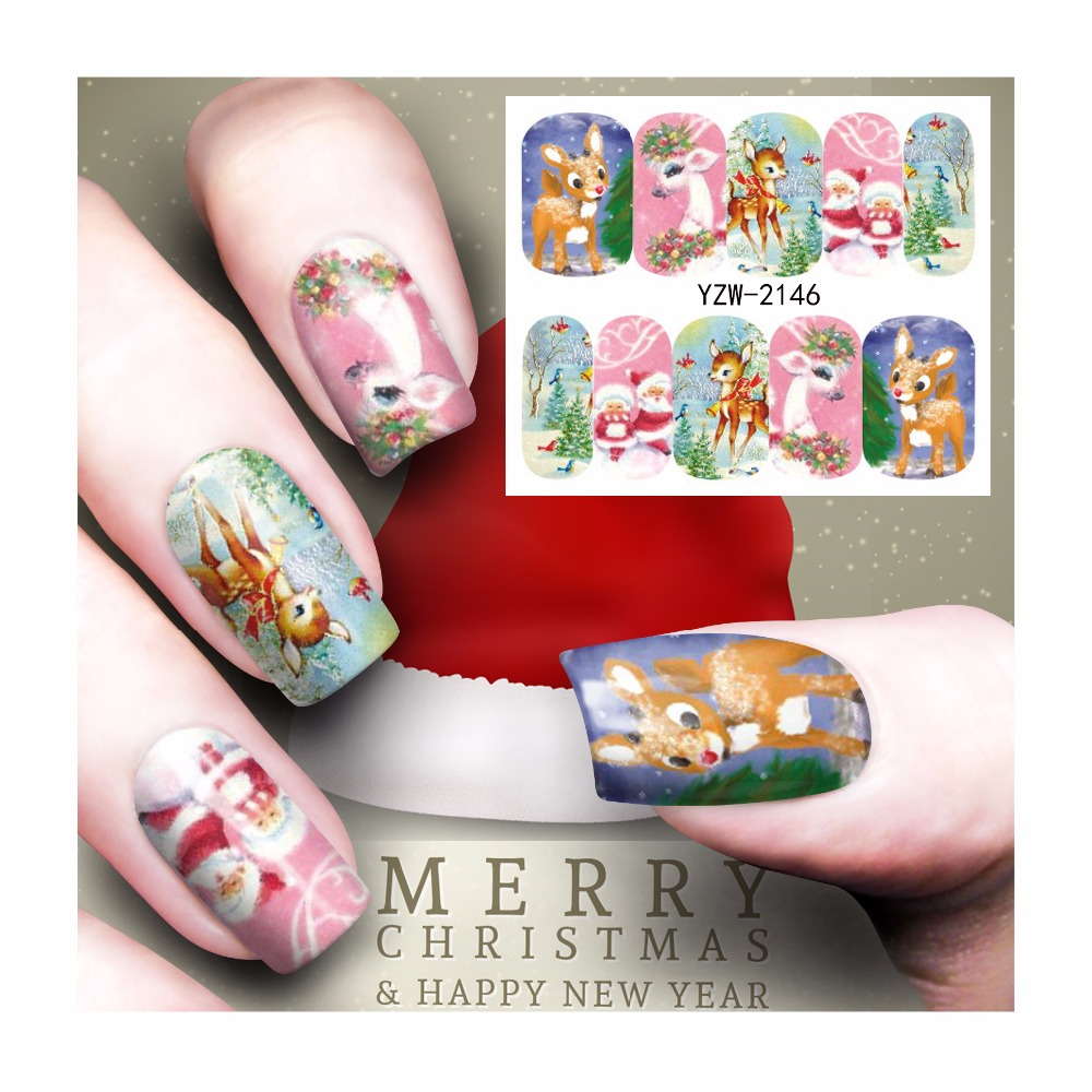 FWC Beauty Nails Christmas Designs Nail Art Water Decals Floral Nail Transfer Stickers 2146(China (Mainland))