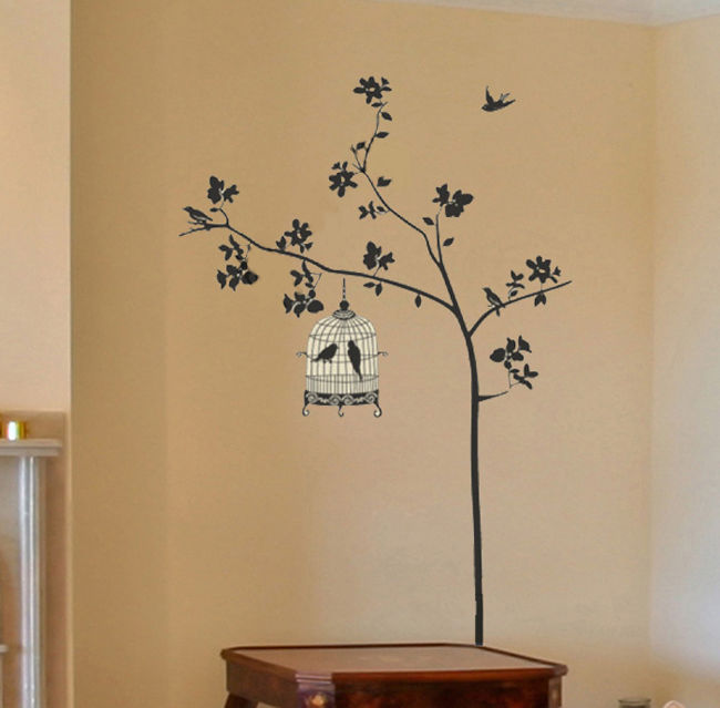 Wall Sticker For Home Decor : Black birdcage tree birds mural art wall sticker home