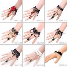 Free Shipping Women Bijoux Handmade Vintage Gothic Lace Chain Bracelets Bangles DIY Bride Bracelets Hot Wedding Accessories(China (Mainland))