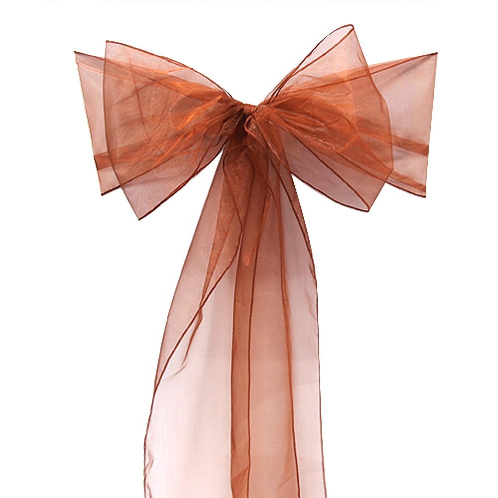 """Free Shipping 50 Pieces new chocolate 7""""x108"""" Organza Chair cover Bow Wedding Party Supply wedding Decorations 2 bags discount(China (Mainland))"""