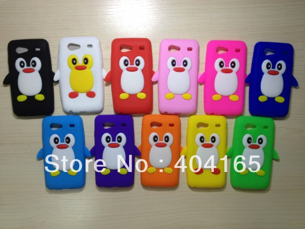 For Samsung Galaxy S Advance i9070 Silicone Rubber Penguin Case, Mix Colors(China (Mainland))