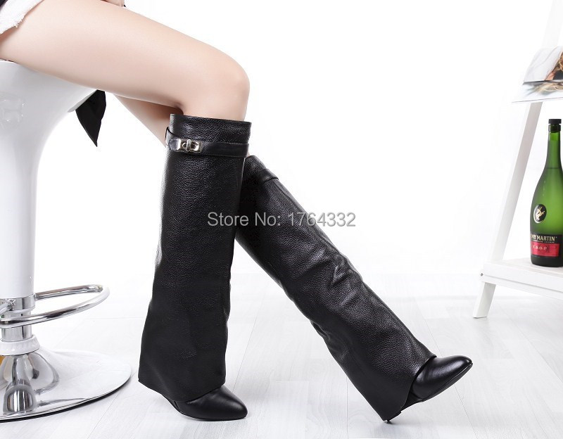 2015 free shipping hotsell black leather women knee boots increasing winter long booties for women turn over Buckle high pumps<br><br>Aliexpress
