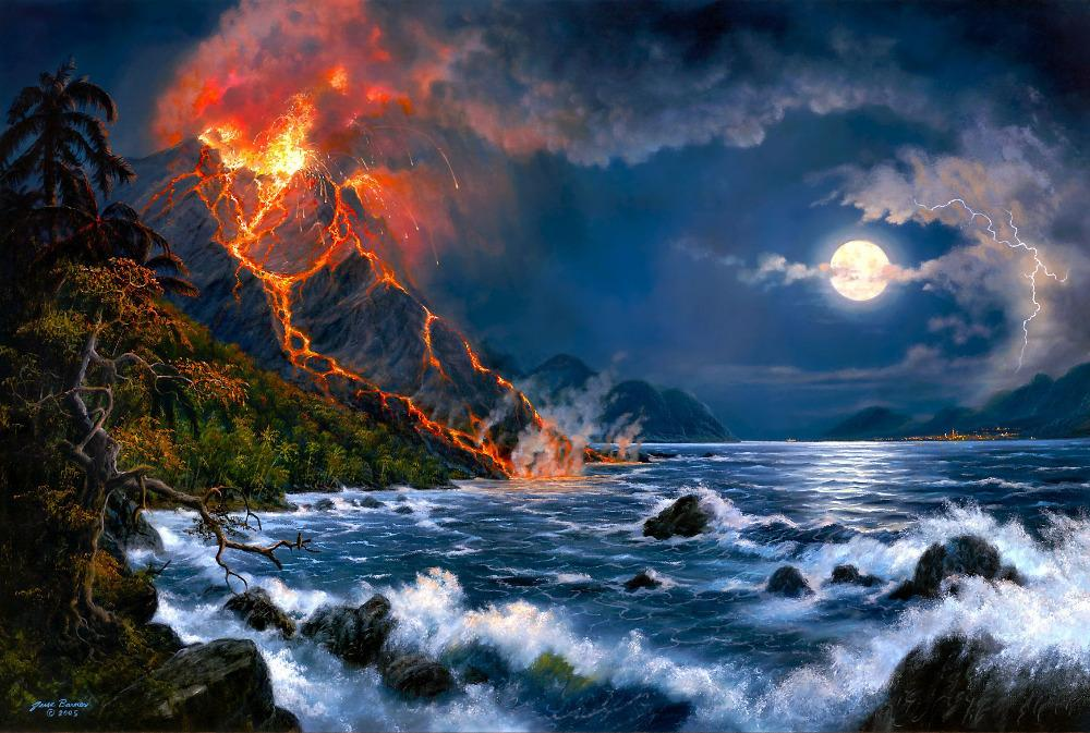 P0487 Forces of Nature,volcanic eruption oil painting Print on Home Decor wall decor 40x60cm