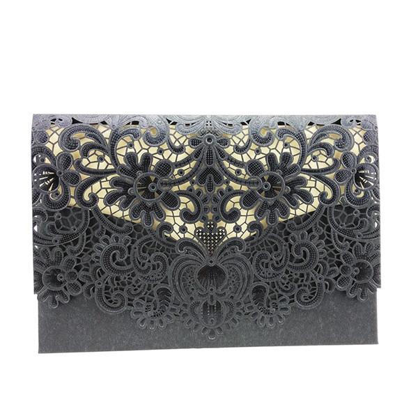 Korean Lace Flower Wedding Invitation Simple But Elegant Grey Color Invitation Cards Wedding Decoration 25pcs/lot W026(China (Mainland))