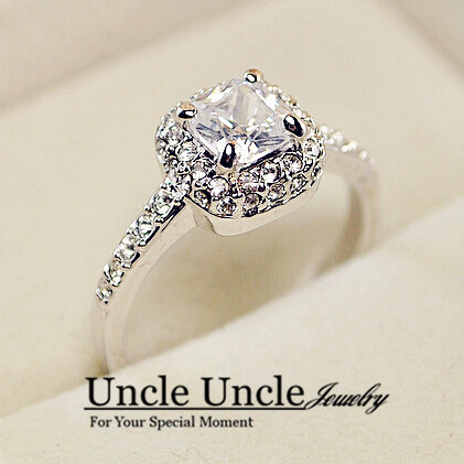 Aliexpress Buy Classic Style 18K White Gold Plated Princess Cupid Cut Square Zirconia