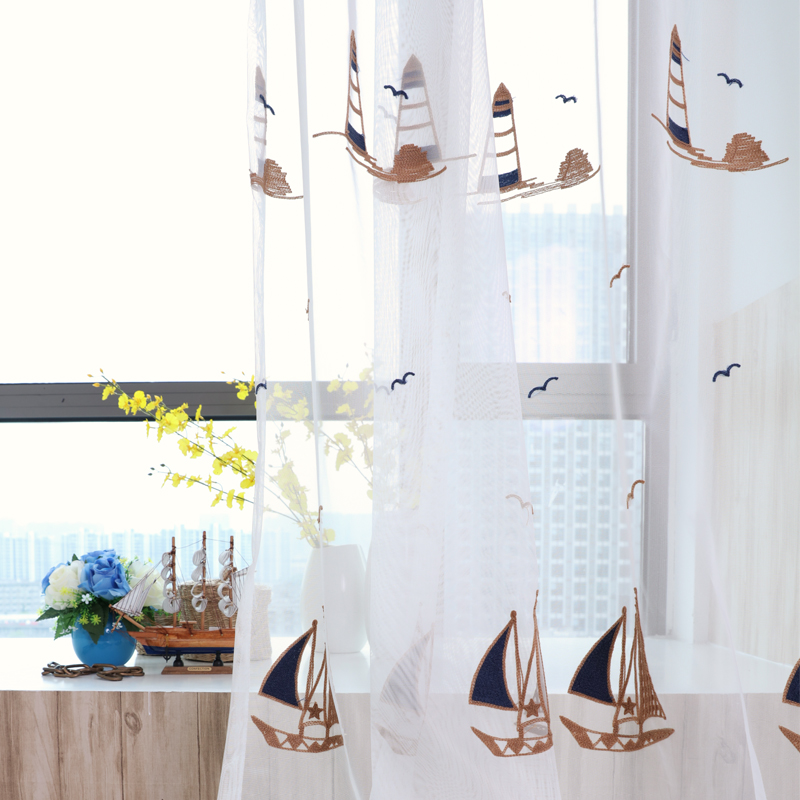 linen Embroidered Voile Bedroom Sheer curtains kids room kitchen chirldren curtains Tulle sailing pattern Window Curtains(China (Mainland))