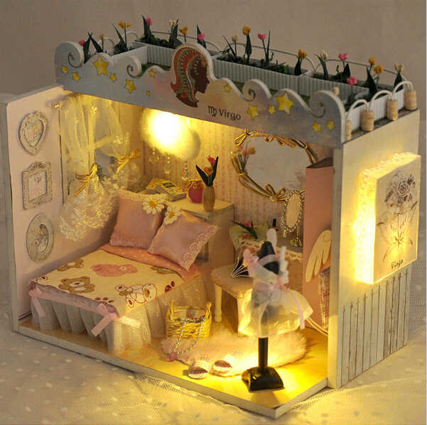 Educational Toys Birthday Gifts Doll House furniture the house for dolls Diy Buliding Dollhouses Model Toy dollhouse miniature(China (Mainland))