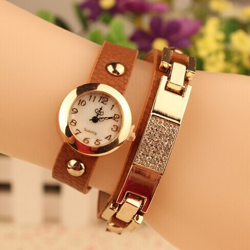 Golden  Watches Women Alloy Case Crystal Leather L...