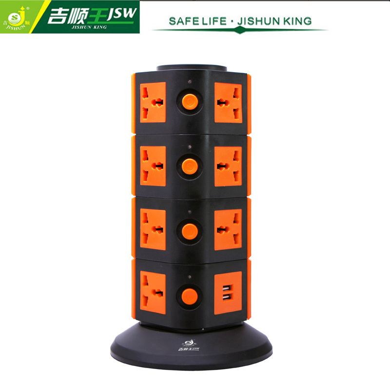 Standard Grounding 4 Layer USB Socket 250V Vertical Extension Socket AC 10A Universal Socket with USB 2100mA 15 Outlets 2500W(China (Mainland))