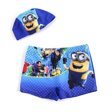 New 2016 Kids Boy Minions Swimwear Children Summer  Fashion Spiderman Swimming Trunks Boys Bathing Swimsuit 2pcs Short+Cap
