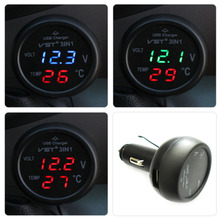 Red 3in1 Car USB Charger Battery temperature Thermometer Voltmeter LED Digital 12/24V Monitor display Free Shipping~(China (Mainland))