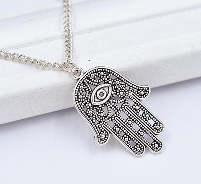 10PCS Fashion Crystal Celebrity Hamsa Fatima Hand Evil Eye Charm Pendant Chain Necklace Luck Jewellery Free Shipping(China (Mainland))