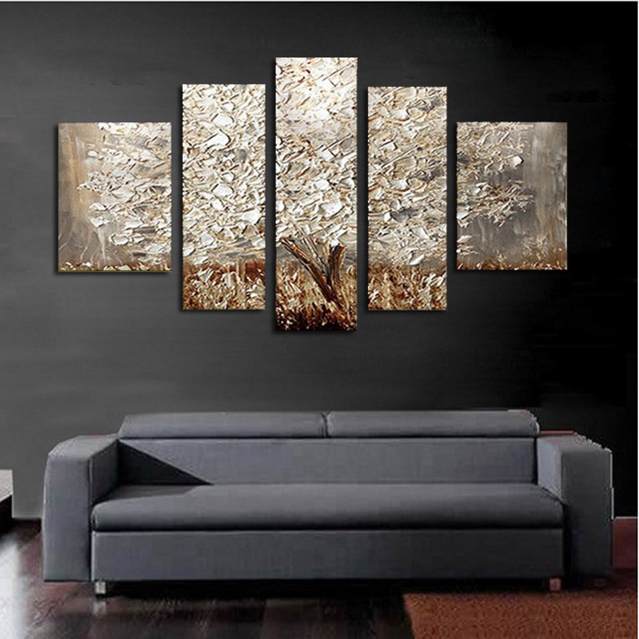 5 Pcs/set 100% Hand-painted Silver Tree Art Decoration Oil Painting On Canvas Wall Pictures For Living Room(China (Mainland))