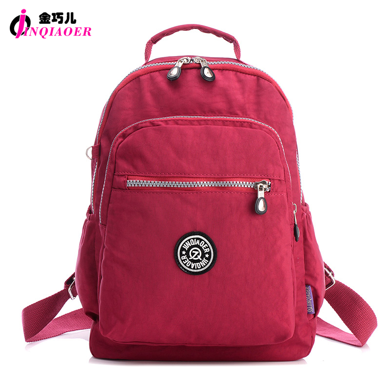 JINQIAOER Brand Casual Women Backpack Waterproof Nylon Mochila School Shoulder Bag Backpack Teenager Student Laptop Rucksack