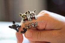 Wholesale French bulldog ring  black / Antique Silver silver / Antique golden colour Women's  Retro Burnished Animal Dog Ring