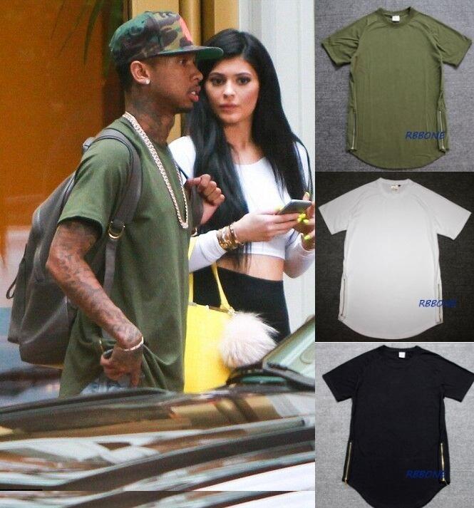 Уличная крис браун канье уэст tyga хип-хоп одежды m-2xl армия зеленый / черный / белый обычная сторона почтовый рубашка ярус футболки