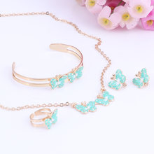 Fashion Girl Jewelry Lovely Butterfly Children Necklace Bangle Earring Ring Kids Baby Costume Jewelry Set(China)