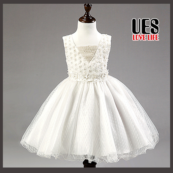 UES New 2015 Flower Girl Christening Wedding Party Pageant Dress Baby First Communion Toddler Gowns Child Bridesmaid Dress(China (Mainland))