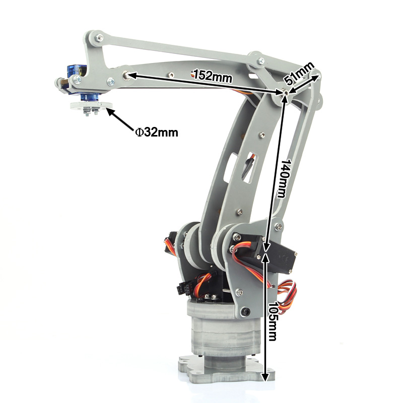 Four Axis Motor Servo Robot Cnc Robotic Arm Model Aluminum