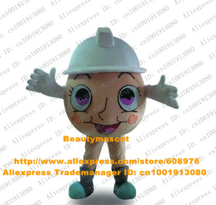 New Orange Egg Mascot Costume Mascotte Henapple Balls Shell Chicken Eggs With White Safety Helmet Purple Eyes No.3951 Free Ship(China (Mainland))