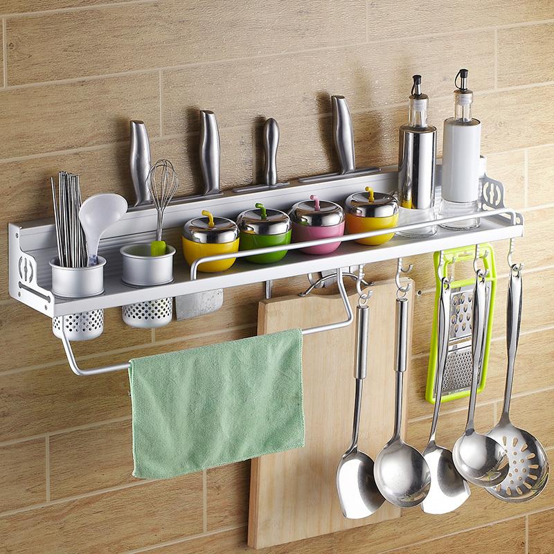 Space Aluminum Kitchen Utensils Hanging Rack Shelving Rack Turret Tool Holder Kitchen Spice Rack