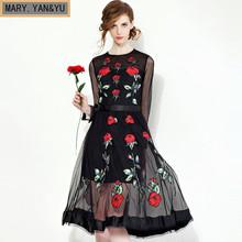 Great brand Runaway Women 2016 Newest  Fall Fashion Slim Elegant O-Neck  Vintage Black Ebroidery Flower Casual Dress(China (Mainland))