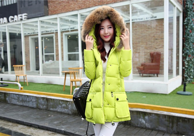 2016 autumn and winter stylish hooded padded detachable nagymaros collar female Korean waist loose solid color coat jacket