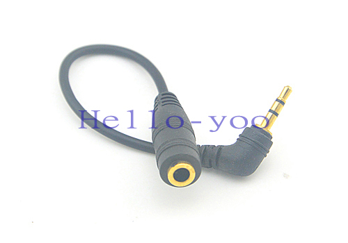 High Quality 2.5mm Male Plug Right Angle to 3.5mm Female Socket Jack Stereo Audio Connector Cable Free Shipping(China (Mainland))