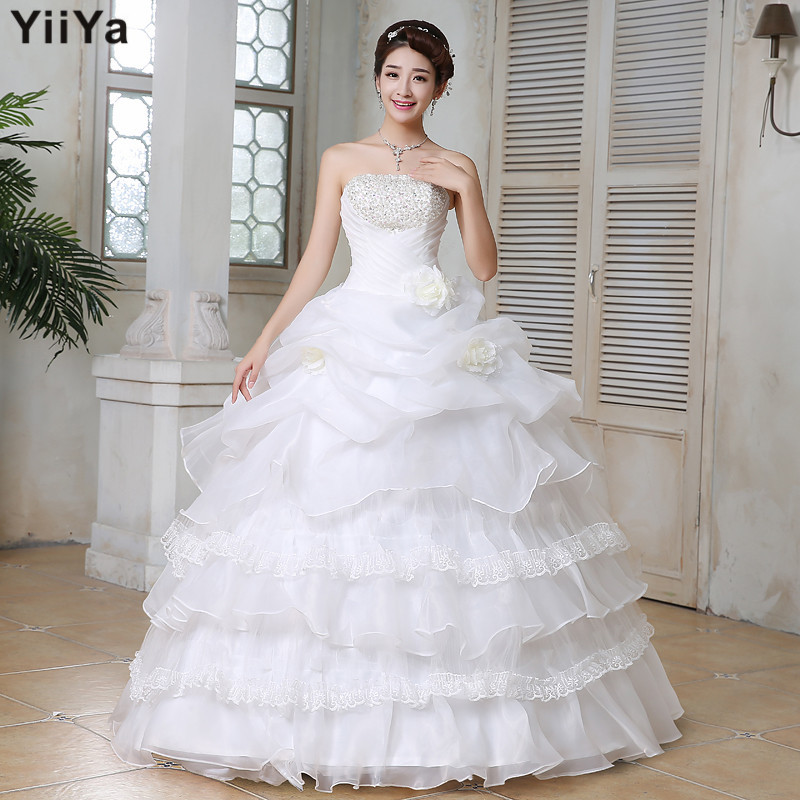 Free shipping wedding dresses 2015 pears white plus size for Cheap wedding dress from china