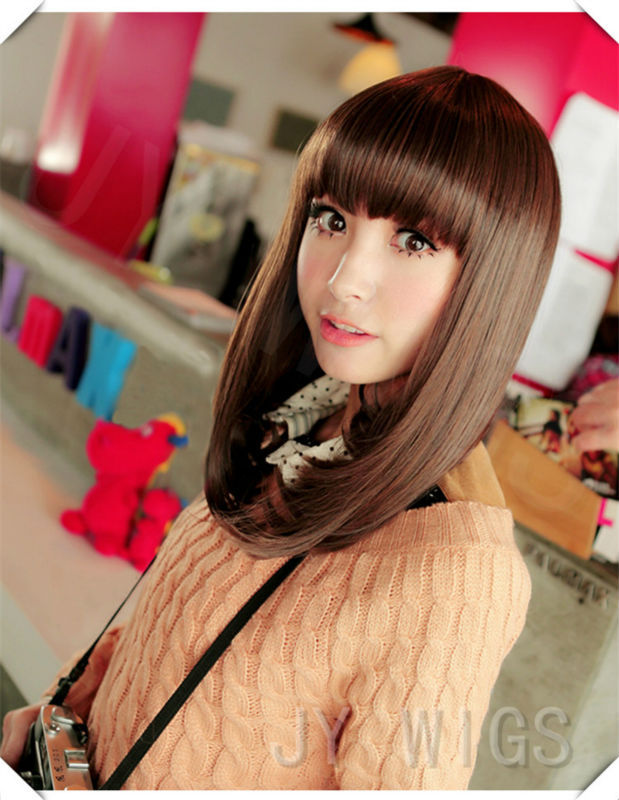 2015 Medium Long Straight Wig Hot Sale Hight Quality Lovely Party Wig Full Bang Blonde Free Wig Cap(China (Mainland))