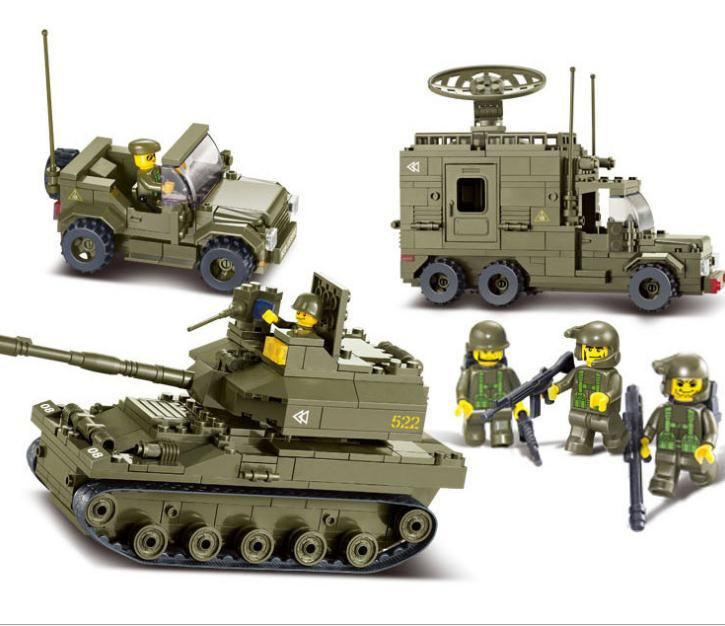 Sluban Tanks+Jeep+Radar vehicle 3D Model Building Blocks Sets Kids Educational Toys Compatible With Legominifigures(China (Mainland))