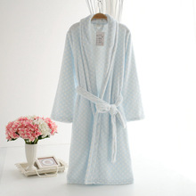 New sale warm women's winter robes free shipping thicken flannel solid soft and comfortable long-sleeved sleep gown for womens(China (Mainland))