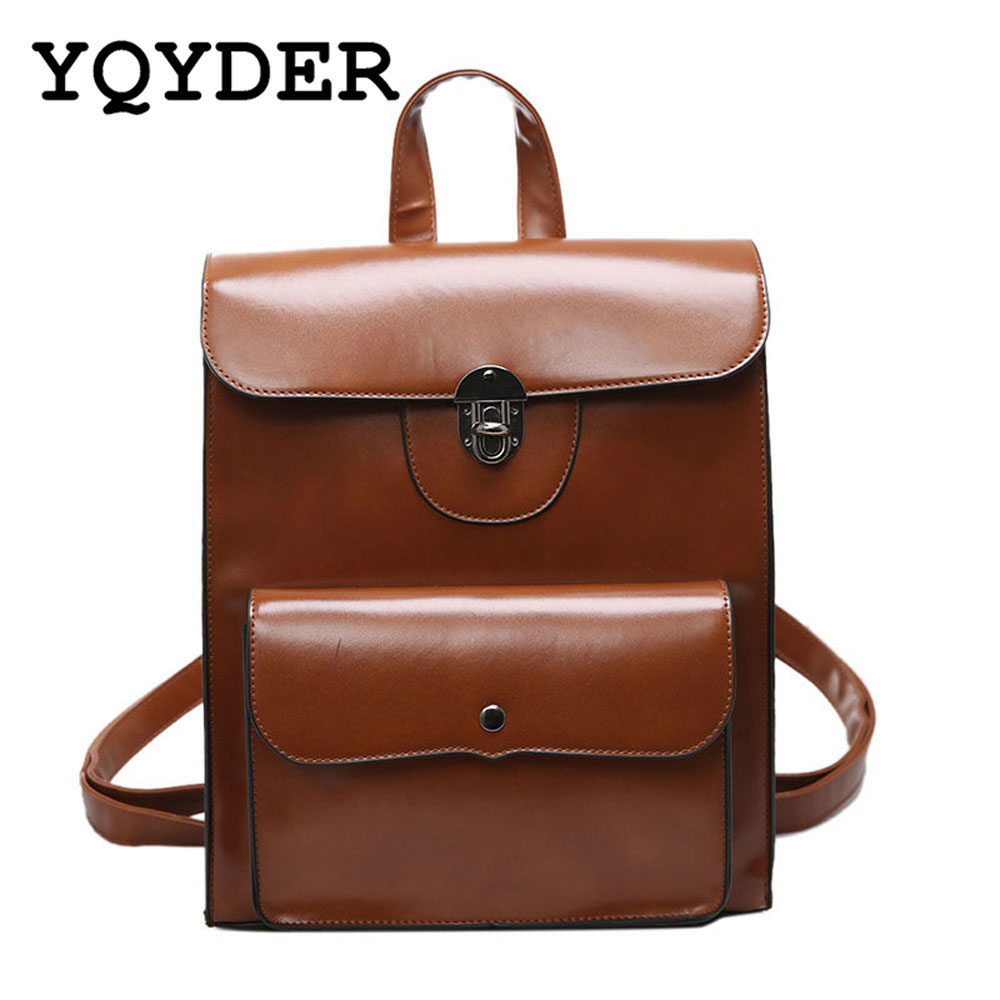 YQYDER Women PU Leather Vintage Backpacks 2017 Student Gift Travel Shoulder Bags Fashion School Backpack Quality Designers(China (Mainland))