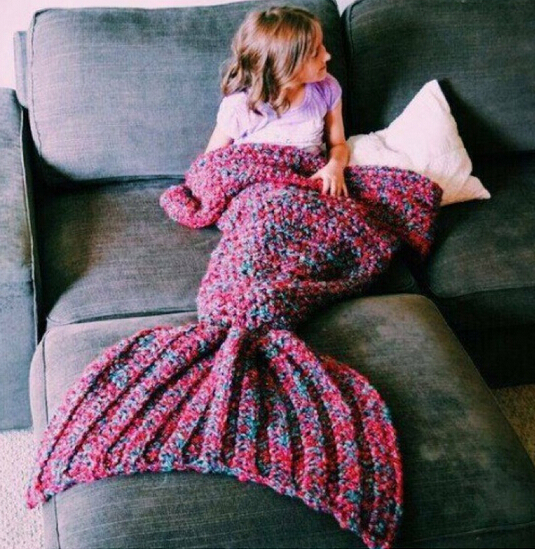 wool knitted Mermaid Tail blanket Handmade children mermaid blanket Throw Bed...