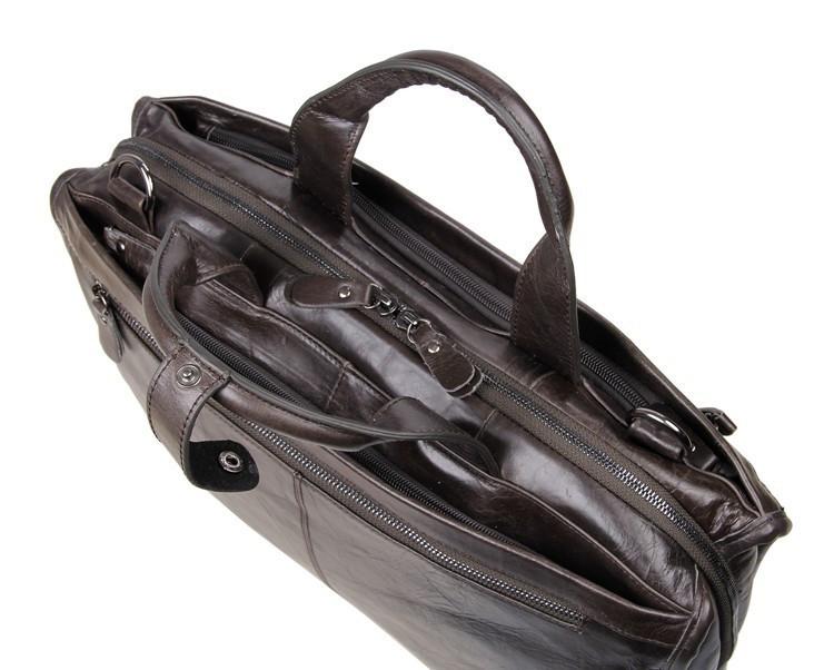 """ซื้อ โปรโมชั่นวินเทจหนังแท้ผู้ชายของMessengerกระเป๋าCowhideผลงานผู้ชายกระเป๋าเอกสารกระเป๋าสะพาย15 """"แล็ปท็อปกระเป๋า# VP-J7243"""