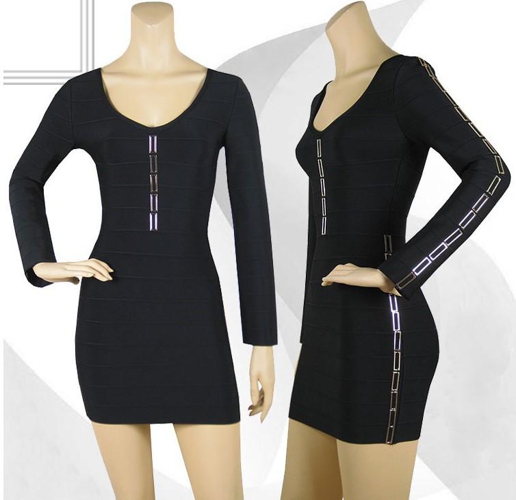 Black  Long Sleeve High Quality HL Bandage Dress 2014 New Arrival Knee Length women Dresses
